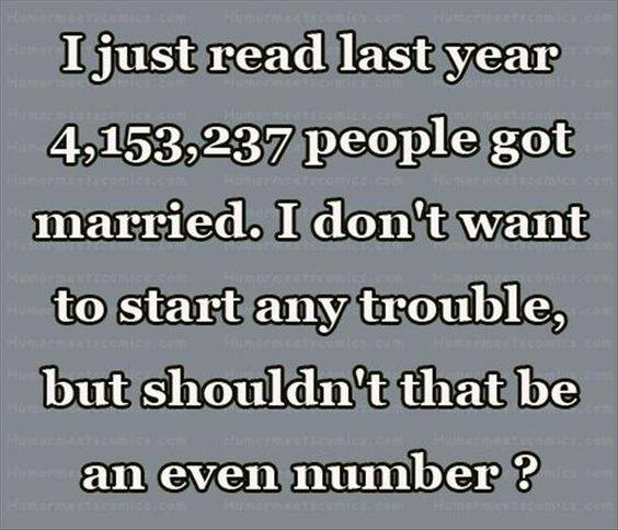 Silly odd number of people married