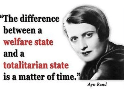 Government Ayn Rand difference betw Welfare and Totalitarianism