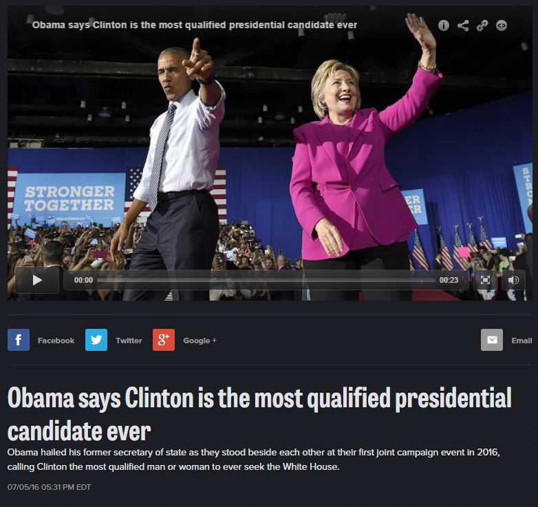 Obama says Hillary most qualified presidential candidate ever