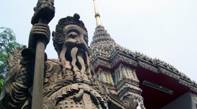 One of the grand statues at Wat Phra Kaeo and the Grand Palace in Bangkok