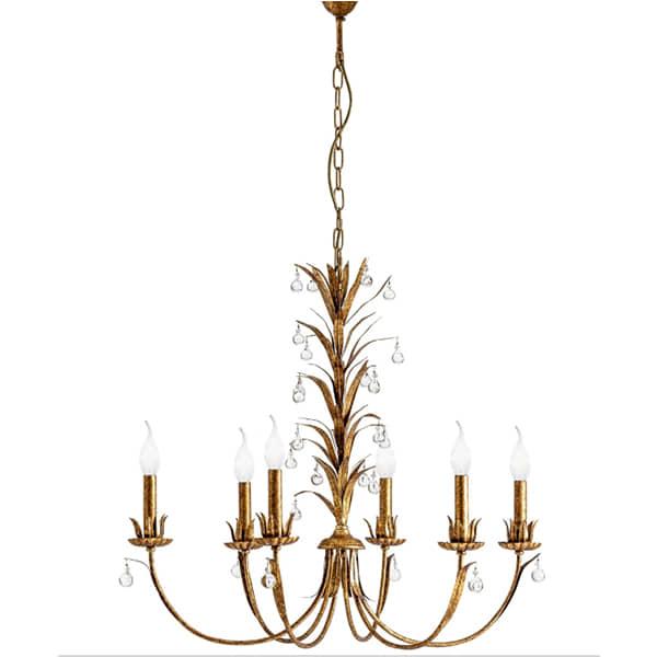 lampara-metal-dorado-techo-diseño-clasico-cristal