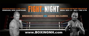 Brendon Simonds boxing Thanksgiving Eve Windham NH fight Castleton tickets event