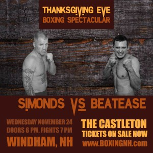 Thanksgiving Eve Boxing Spectacular Windham NH November 24 tickets event Castleton Melrose Memorial Hall