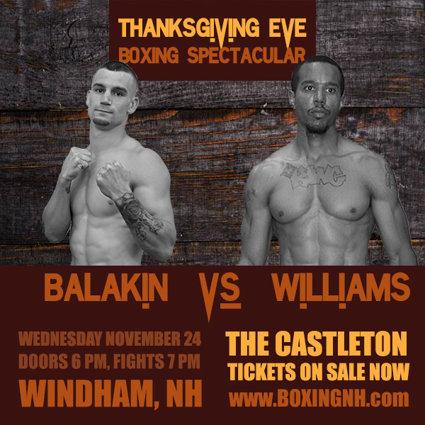 Thanksgiving Eve Boxing Spectacular November 24 Windham NH Castleton tickets event