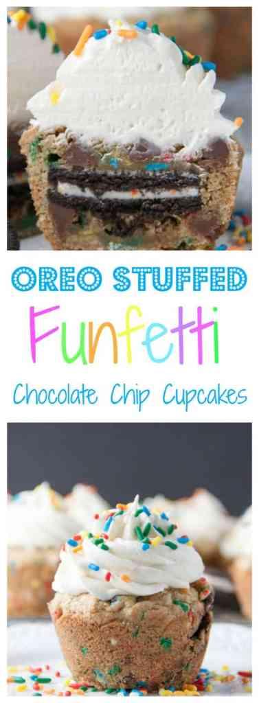 Oreo Stuffed Funfetti Chocolate Chip Cupcakes