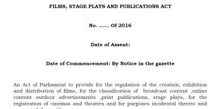 Kenya Films, Stage Plays & Publications Bill