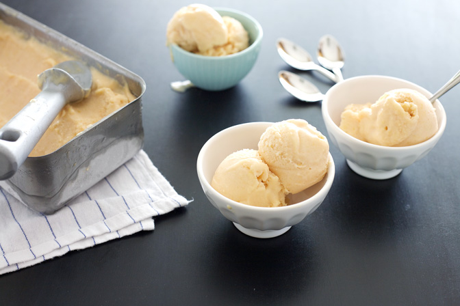No Churn Coconut Peach Ice Cream