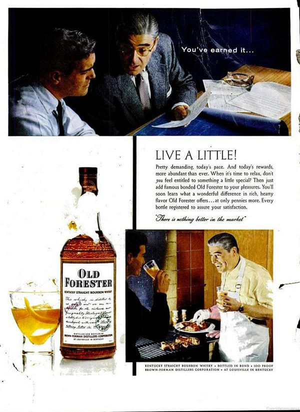 Old Forester Bourbon Advertisement Circa 1957