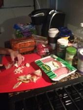 Preparing turkey and veggies