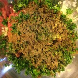 Meat, parsley, onions and spices