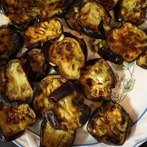 Sliced and Cooked Eggplants