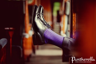 Pantherella Mens Solid Colour Collection Laburnum Bright Purple