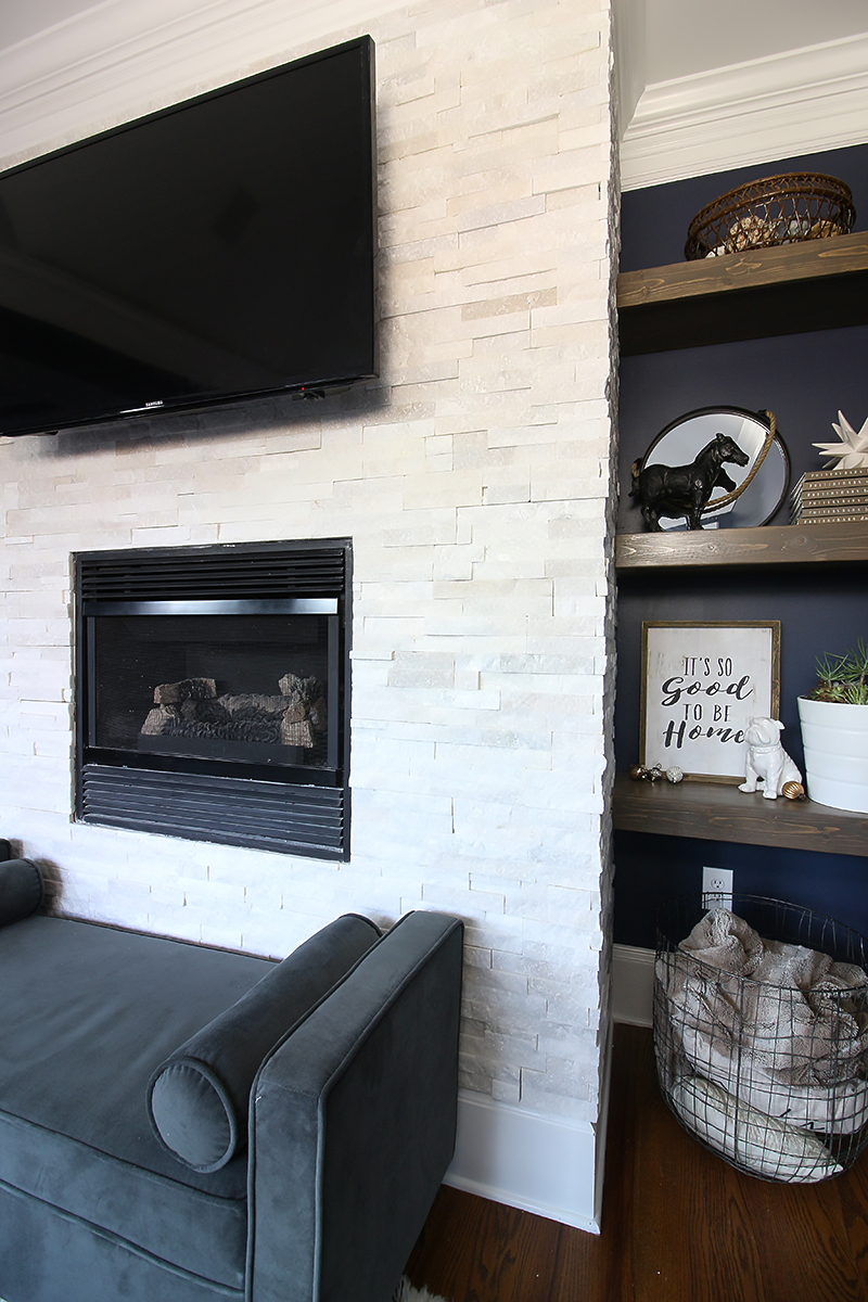 Large Of Stacked Stone Fireplace