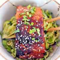Teriyaki Salmon and Zucchini Noodle Bowl
