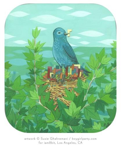 Susie Ghahremani painting Tetris bird - http://boygirlparty.com