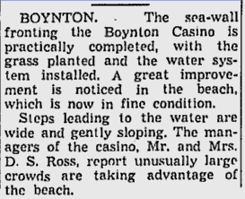Clipping from the 1939 Palm Beach Post