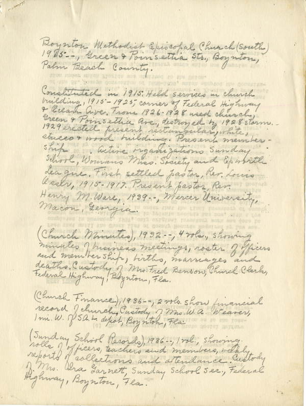 Original WPA Notes scanned into Florida Memory