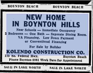 Advertisement for Kolendo Construction Company from 1955 Palm Beach Post.