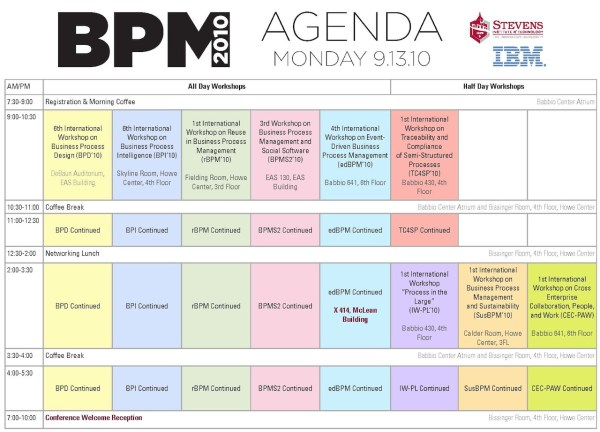 BPM 2010 Workshop Schedule