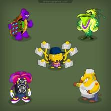 Monster-Pellican-Boar-Speaker-Turtle-Character-Design