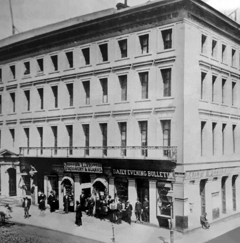 View looking northeasterly at corner of Montgomery and Merchant Streets, 1880