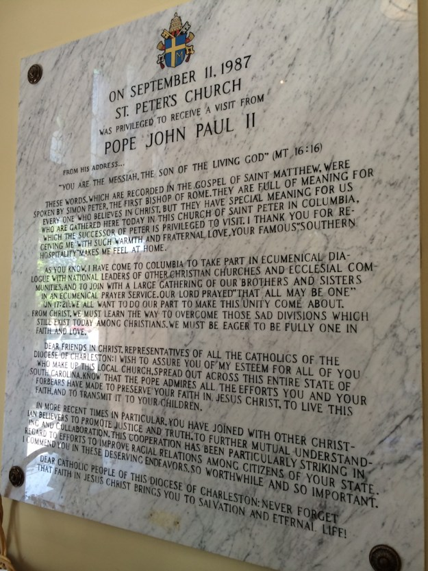 The huge plaque just inside the front door of St. Peter's -- a few feet from where Msgr. Lehocky welcomed the pontiff.
