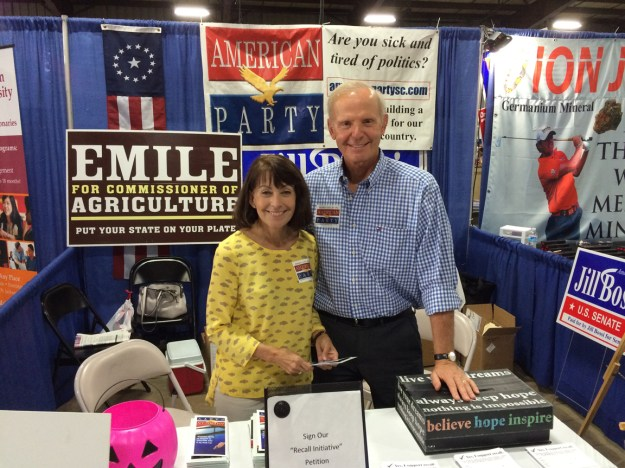Sue and Jim Rex, at the American Party booth at the SC State Fair.