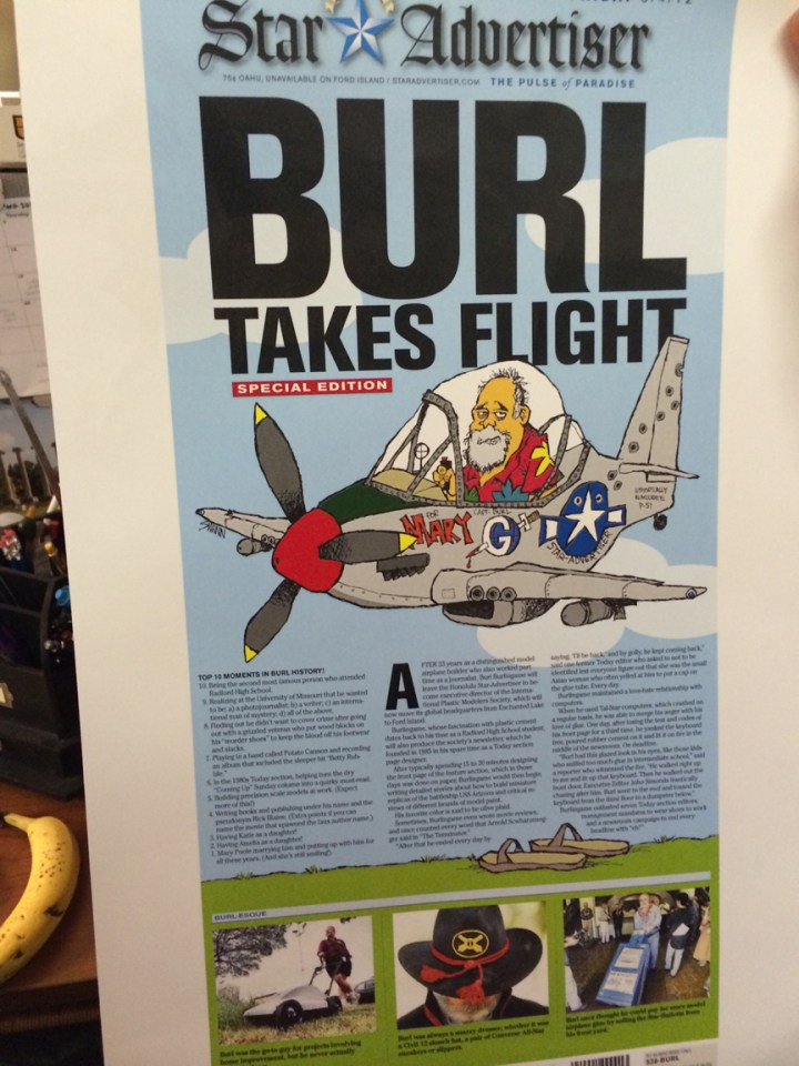 Burl's going-away page from when he left the newspaper.