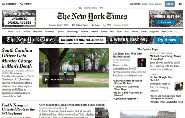 NYT homepage