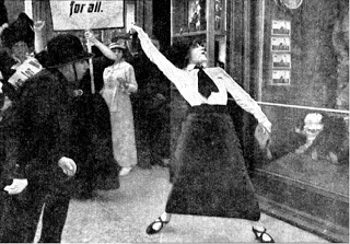 Interestingly, a 1913 film about suffragettes also emphasized the rock-throwing.