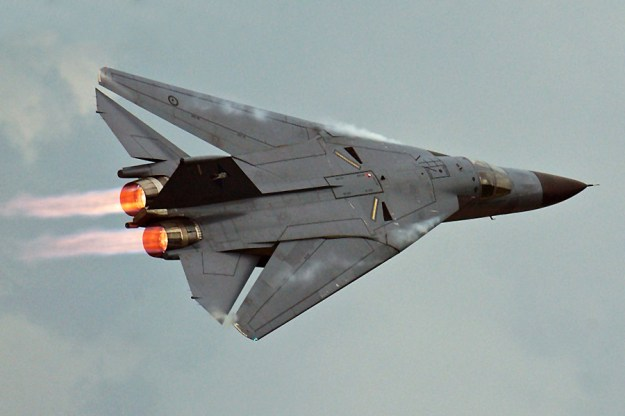F-111 with its wings swept back.
