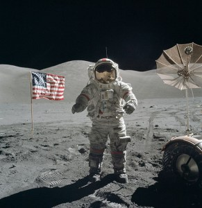 Cernan on the moon.