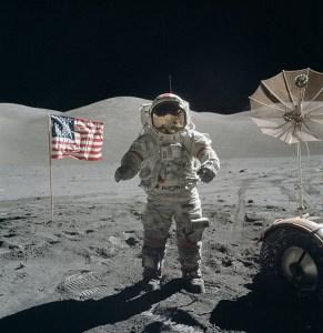 Cernan on the moon.