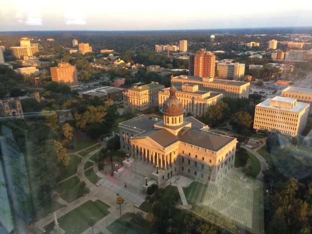 "I Tweeted this out with the words, ""Warm light of the setting sun falls on the heart of downtown Columbia -- seen from @CapCityClubCola."""
