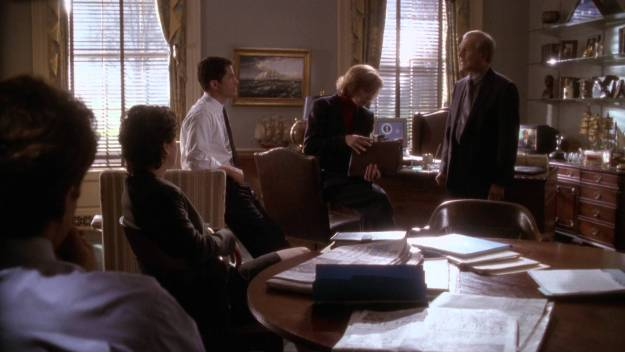"In this scene from the episode, Leo should be saying, ""Who forgot to pay the light bill?"" Folks, I've been in the West Wing. It's not this dark."