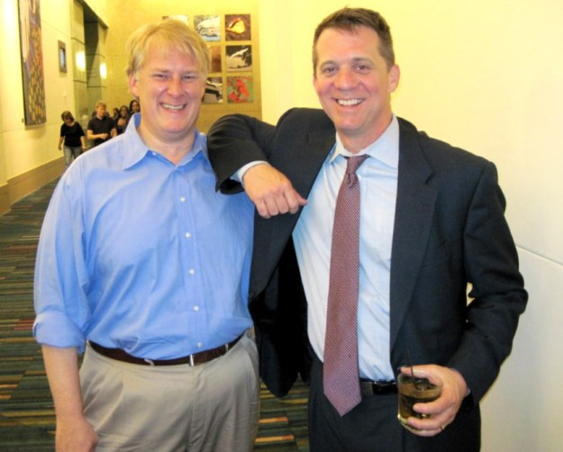 "My original caption on this picture was, ""Dogs and cats, living together -- Republican Rick Quinn and Democrat James Smith at the Benjamin victory party."""