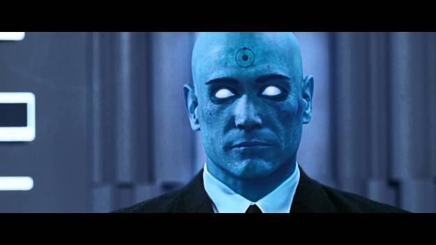 Dr. Manhattan in the press conference scene.