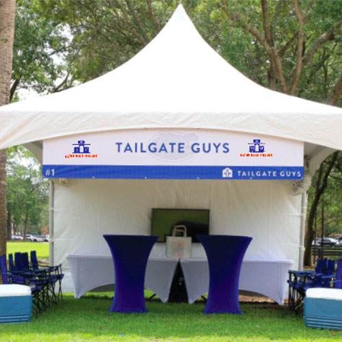 You get to tailgate! With a tent!