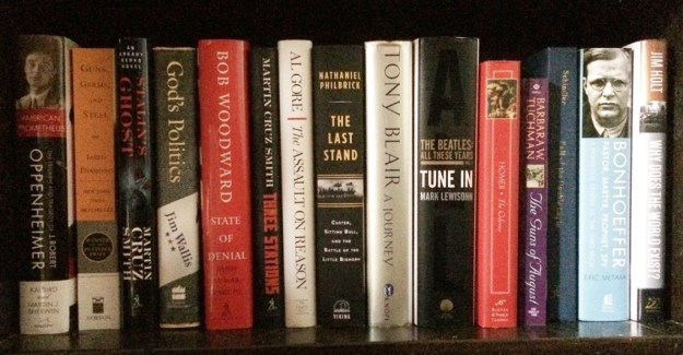 Some of my many unread books.