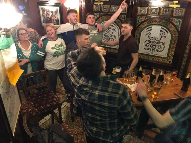 Of course, the threat of Brexit didn't keep us from having plenty of craic. Here a couple of ladies from our group celebrate with some local lads on the evening of March 17.