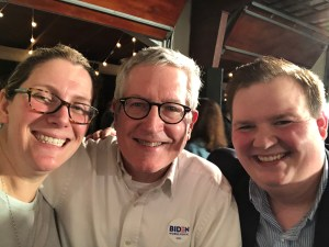 Smith campaign alumni Ashley Medbery Floyd, me, and Noah Barker at a Biden event on Feb. 11.
