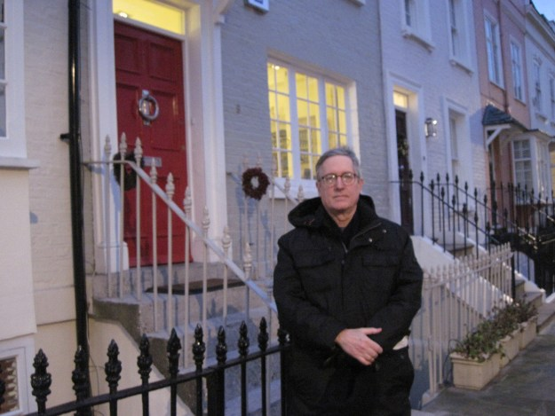 Here I am a decade ago, at dusk, outside George Smiley's house on Bywater Street in London. I don't think George minded.