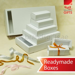 Elegant White Slider Boxes Open and close cardboard paper box Readymade sizes and shapes www.brandsgifts.ae