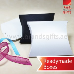 High Quality Pillow Box in Different materials Readymade sizes www.brandsgifts.ae