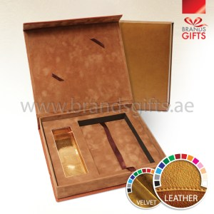 Luxurious and Stylish Brown Leather Velvet Box Custom made for all occasions www.brandsgifts.ae