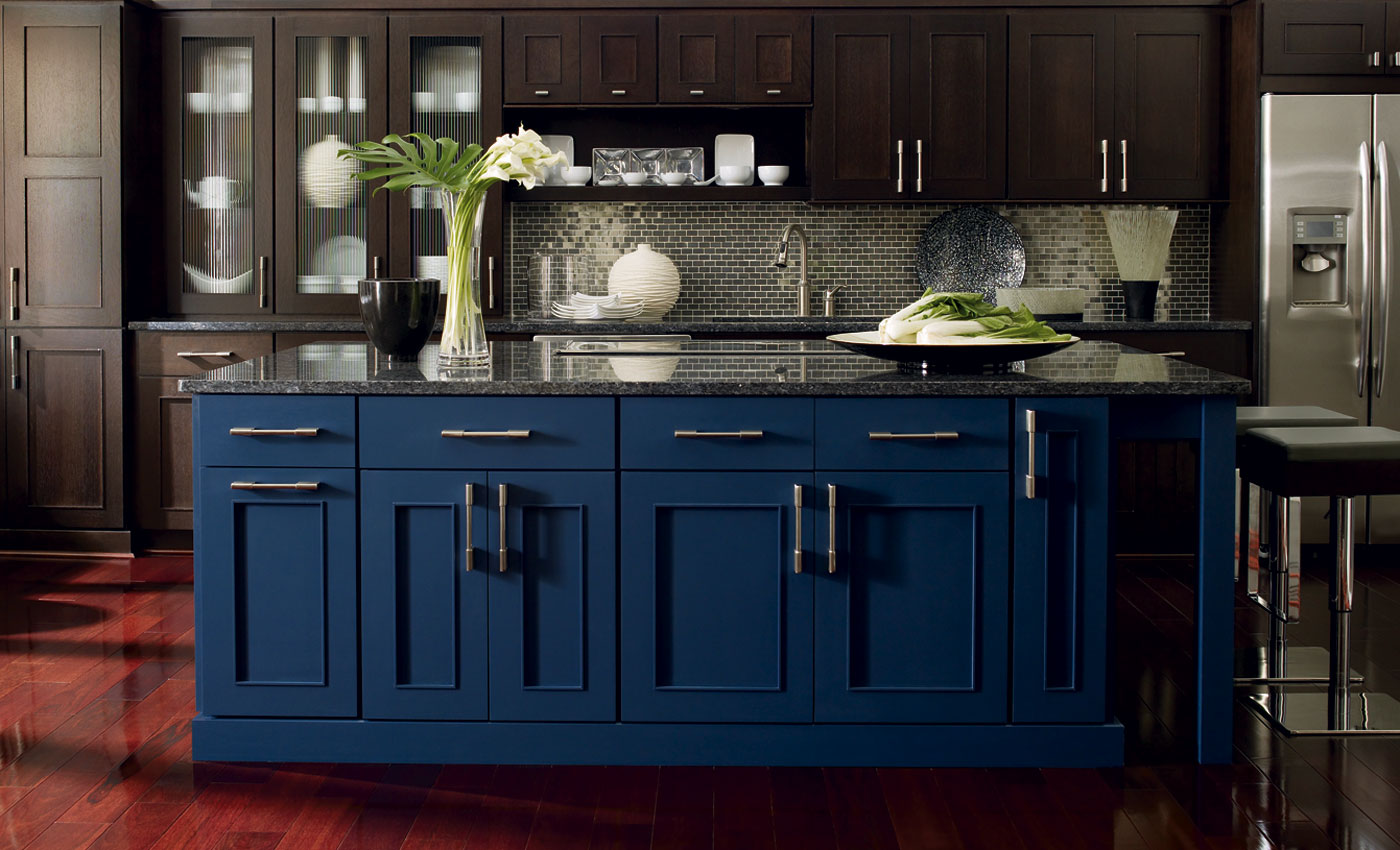 4 popular cabinet colors blue cabinets kitchen Omega Blue 1