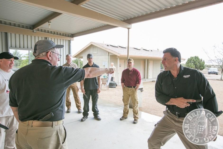 Steve Tarani teaching a block on edged weapons