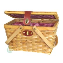 Gingham Lined Picnic Basket For Two