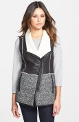 Mixed Media Faux Shearling Vest