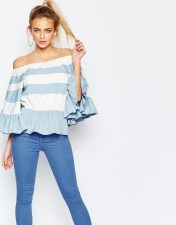 Boohoo Paige Striped Off The Shoulder Top